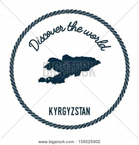 Vintage Discover The World Rubber Stamp With Kyrgyzstan Map. Hipster Style Nautical Postage Stamp, W