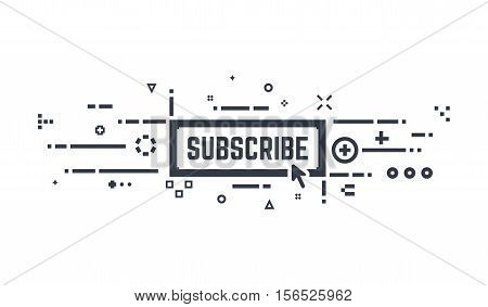 Sunscribe button. Subscription line concept. Abstract lines and dots.