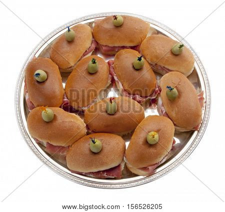 tray filled of sandwiches