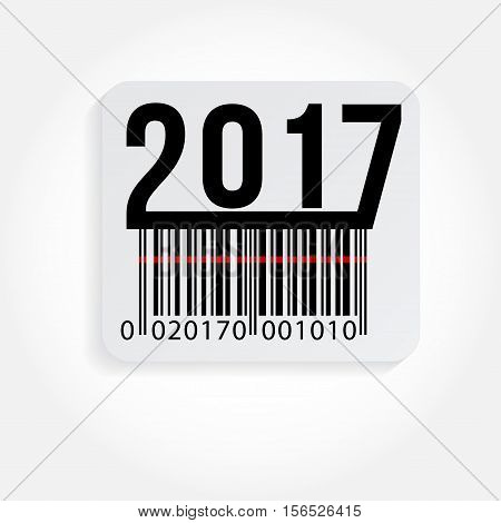 Vector illustration of text 2017 and barcode stickers isolated on white. Happy new Year.