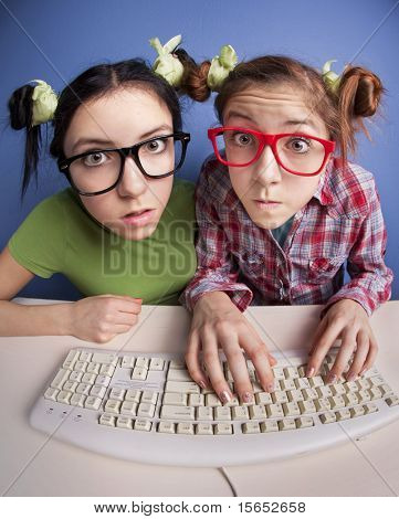 Twin sisters at the computer