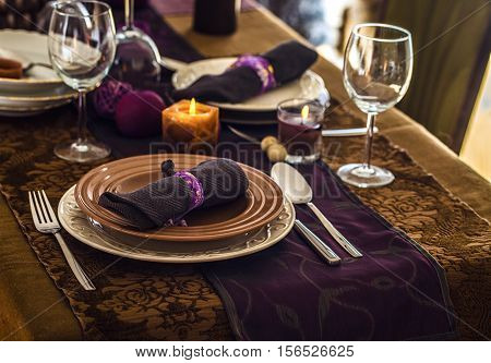 Table setting for dinner. Elegant place setting for restaurant. Wedding or Valentines dinner.