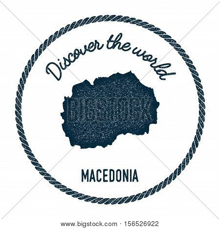 Vintage Discover The World Rubber Stamp With Macedonia, The Former Yugoslav Republic Of Map. Hipster