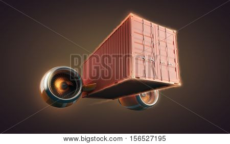 Fast freight container delivery goods and cargo for logistics business. Speed is main idea. 3d illustration