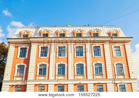 Building of the Higher School of Folk Arts at Griboyedov Canal embankment in St Petersburg Russia - closeup facade view. Architecture landmark of St Petersburg Russia