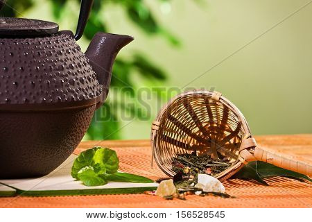 Closeup Tea Strainer With Teapot And Fresh Mint Leaves