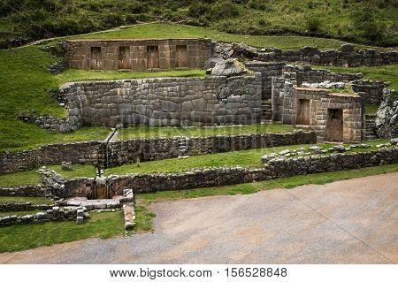 Tambomachay Inca ruins near Cusco in Peru South America
