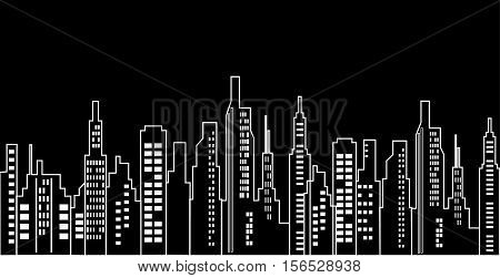 Urban Cityscape Black And White Background - Cityscape Design Modern Style - Vector Illustration Stock