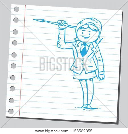 Note paper drawing of businesswoman holding spear