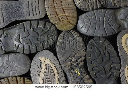 soled shoes group objects background abstract structure
