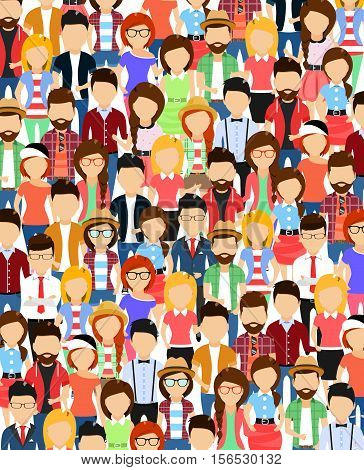 The crowd of abstract people standing nearby. Cartoon vector illustration. Isolated on a white background.