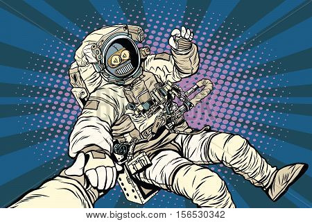 Follow me robot astronaut gesture okay, pop art retro vector illustration. Science fiction and robotics, space and science poster