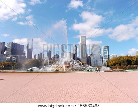 Buckingham Fountain at Grant Park in Chicago United States