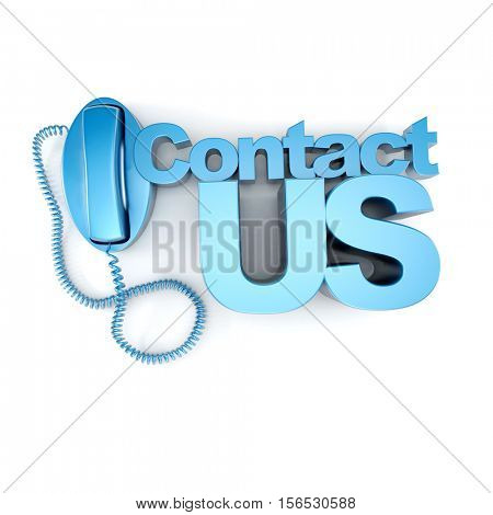 3D rendering of a blue telephone and the word contact us