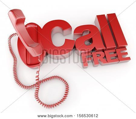 3D rendering of an unhooked telephone receiver with the words call free