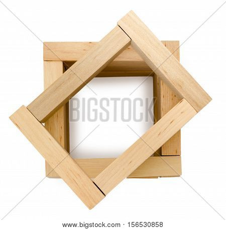structure of wooden bricks, looks like well, education concept
