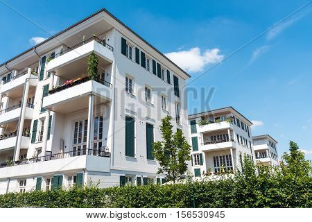 Modern multi-family houses seen in Berlin, Germany