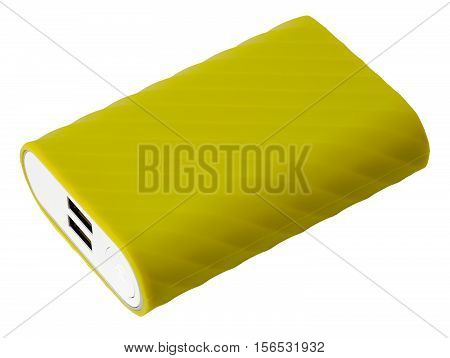 Yellow portable charger device for cellphone with two usb ports isolated on white background