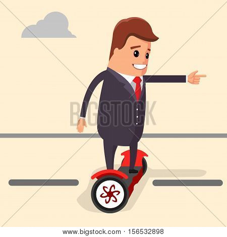 Vector illustration. Businessman riding on a segway. Manager character on a segway. Character of a businessman using segway.