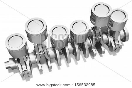 3D Pistons And Crankshaft, Automotive Engine