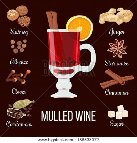 Mulled wine set with glass of red drink and all ingredients. zest, cloves, nutmeg, star anise, sugar, cinnamon, citrus, cardamom, ginger. vector illustration. Known as cardinal gluhwein glogg
