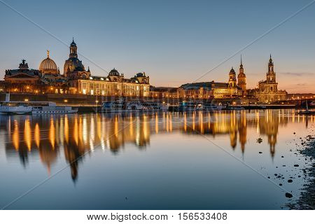 The skyline of Dresden and the river Elbe at sunset