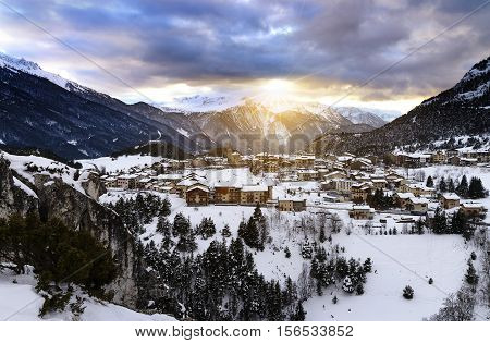 View of Aussois village at sunset France