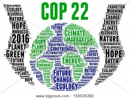 COP 22 in Marrakesh, Morocco word cloud illustration