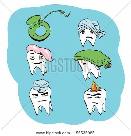 Dental set of tooth health and oral hygiene, color vector comic illustration. Pain and treatment. Toothpaste and dental floss. Caries and pulpitis