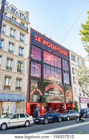 PARIS, FRANCE- circa april, 2016: Sex shops in the Paris red-light district of Pigalle. Montmartre, Paris, France.