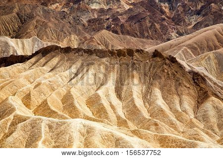 Detail of eroded rock in the Badlands of Death Valley, California, USA