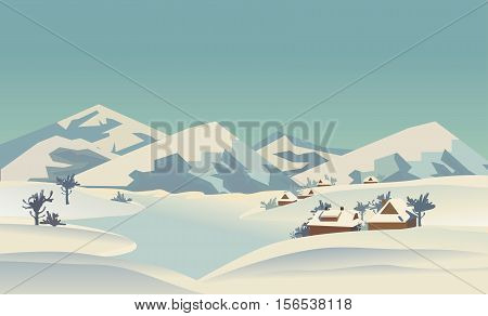 Winter nature landscape. Mountain river in snowy glacier valley. Houses on bank under snow. Lake view among hills, trees. Countryside rural scene background. Cartoon outdoors vector Illustration