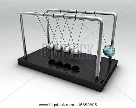 The Earth In Newton's Cradle