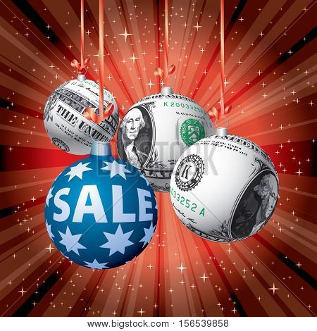 Christmas balls with dollar texture, vector red starburst background for  Christmas sales