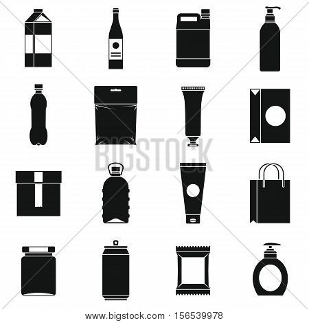 Packaging items icons set. Simple illustration of 16 packaging items vector icons for web