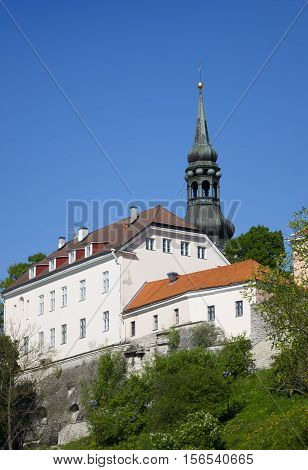 View of houses on the hill Toompea hill and St.Mary Church. Old city Tallinn Estonia.