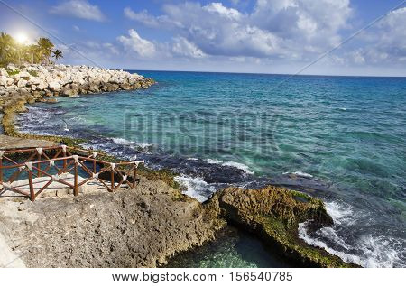The sea coast in park near Cozumel Mexico