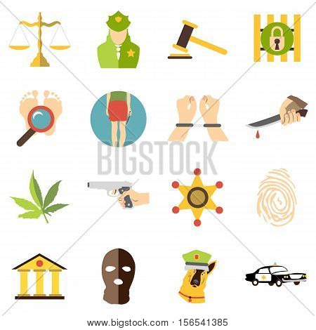 Criminal icons set. Cartoon illustration of 16 criminal vector icons for web