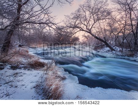 Winter Landscape With Snowy Trees, Beautiful Frozen River At Sunset