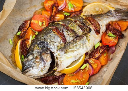 Oven Baked Whole Sea Bream Fish  With Vegetables