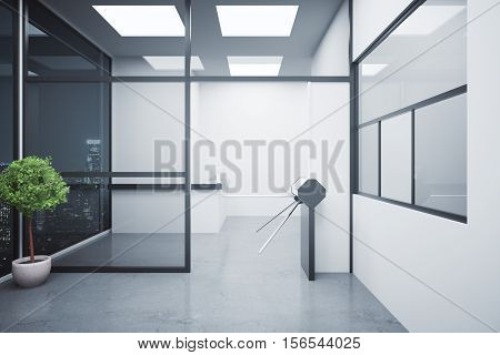 Concrete Interior With Turnstile And Reception