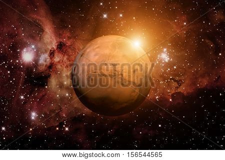 Solar System - Mars. It is the fourth planet from the Sun. Mars is a terrestrial planet with a thin atmosphere, having craters, volcanoes, valleys, deserts. Elements of this image furnished by NASA poster