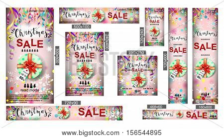 Merry Christmas sale web banner. Colorful paper streamers and confetti. Christmas Sale. Place for your text. Design for poster, invitation, gift certificate, card.