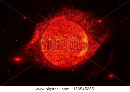Solar System - Sun. It is the star at the center of the Solar System. Sun is a G-type main-sequence star and it is informally referred to as a yellow dwarf. Elements of this image furnished by NASA.