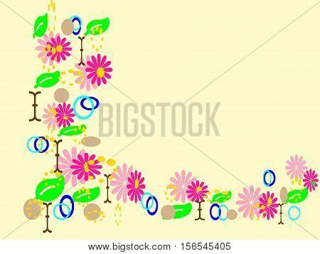 cornice decorativa con fiori rosa e foglie poster