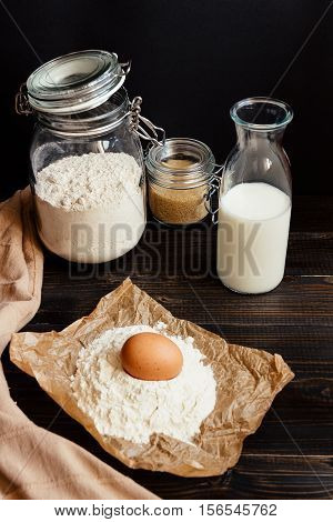 Home Baking. Baking Ingredients On The Wooden Table