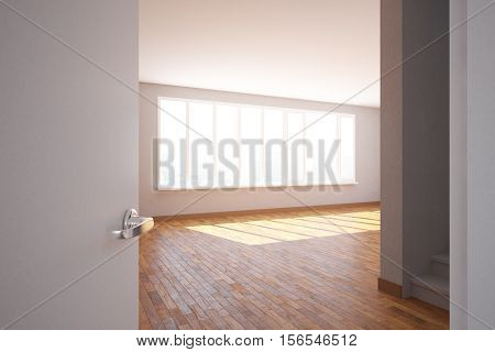 Side view of unfurnished room interior with wooden floor staircase and daylight. 3D Rendering