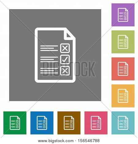 Questionnaire document flat icons on simple color square background.