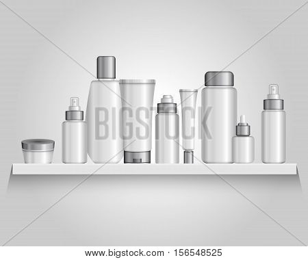 Composition with packaging plastic tubes of different size and shape for various cosmetic formulations with shadows vector illustration