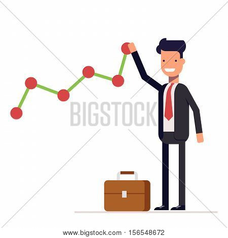 Businessman or manager builds a graph chart of income growth. Man in business suit rejoices success. Vector, illustration EPS10.